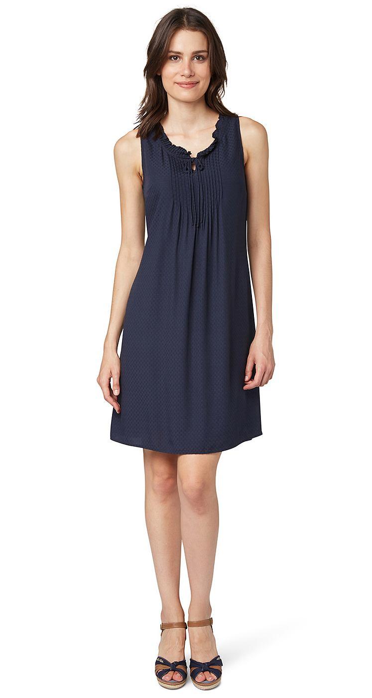 Tom Tailor jurk »zomerjurk met fijne structuur« blauw