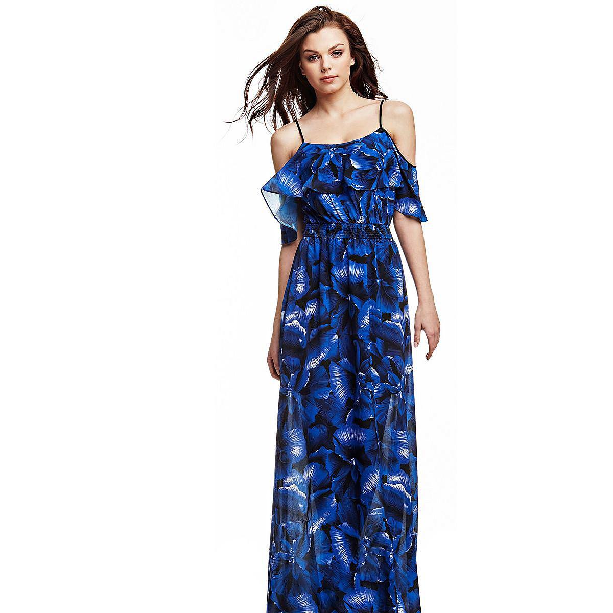 Guess lange jurk met bloemenprint blauw