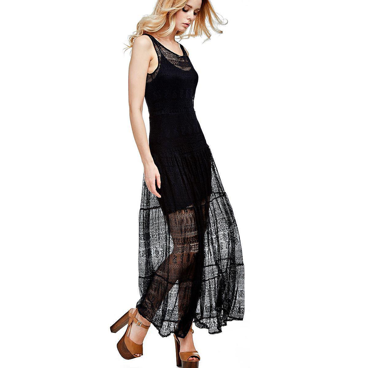Guess lange jurk van kant zwart