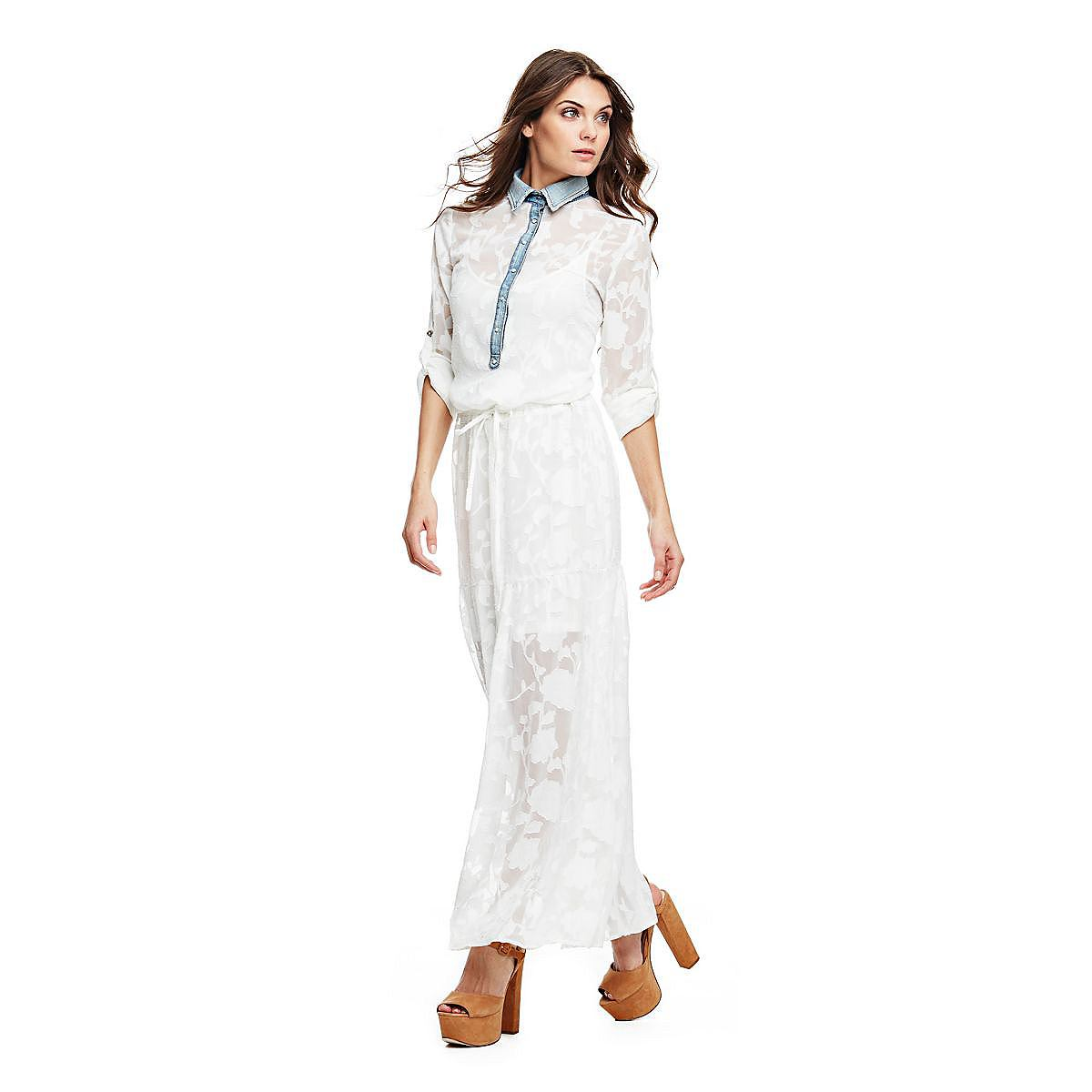 Guess lange jurk in etskant-look wit