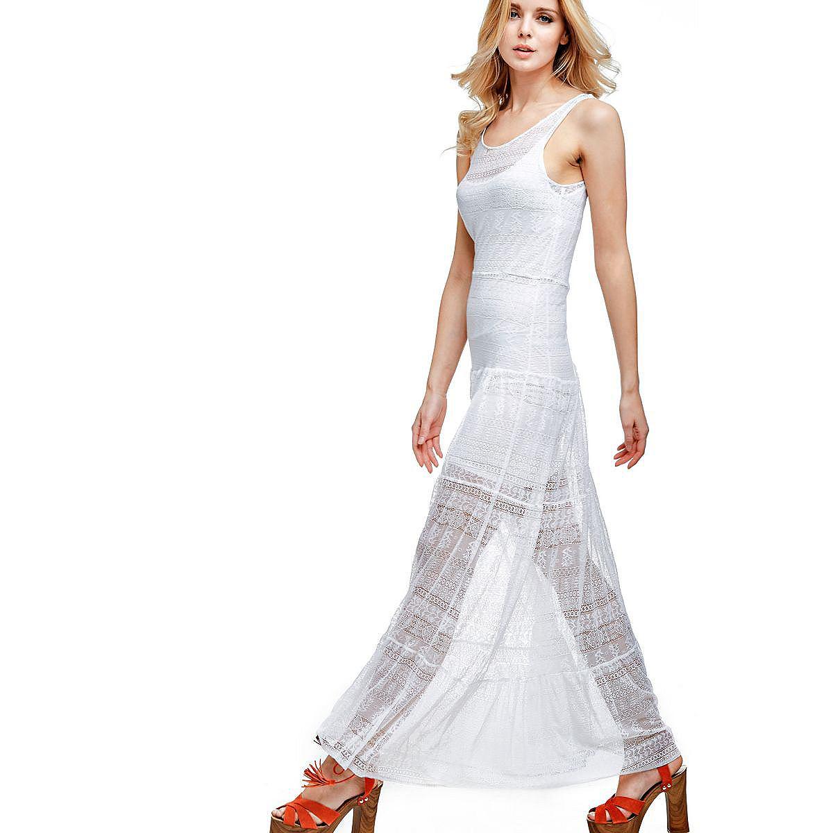 Guess lange jurk van kant wit