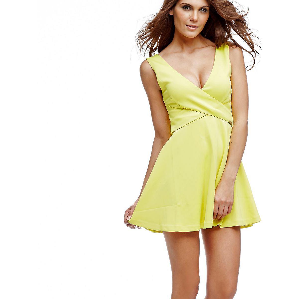 Guess jurk met cirkelrok geel