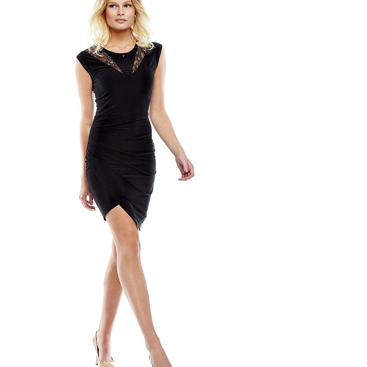 Guess jurk met aanrimpeling opzij zwart