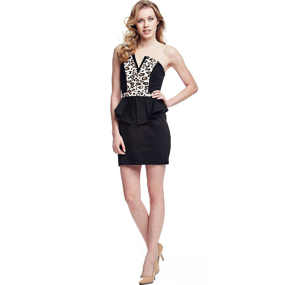 Guess jurk van katoen zwart