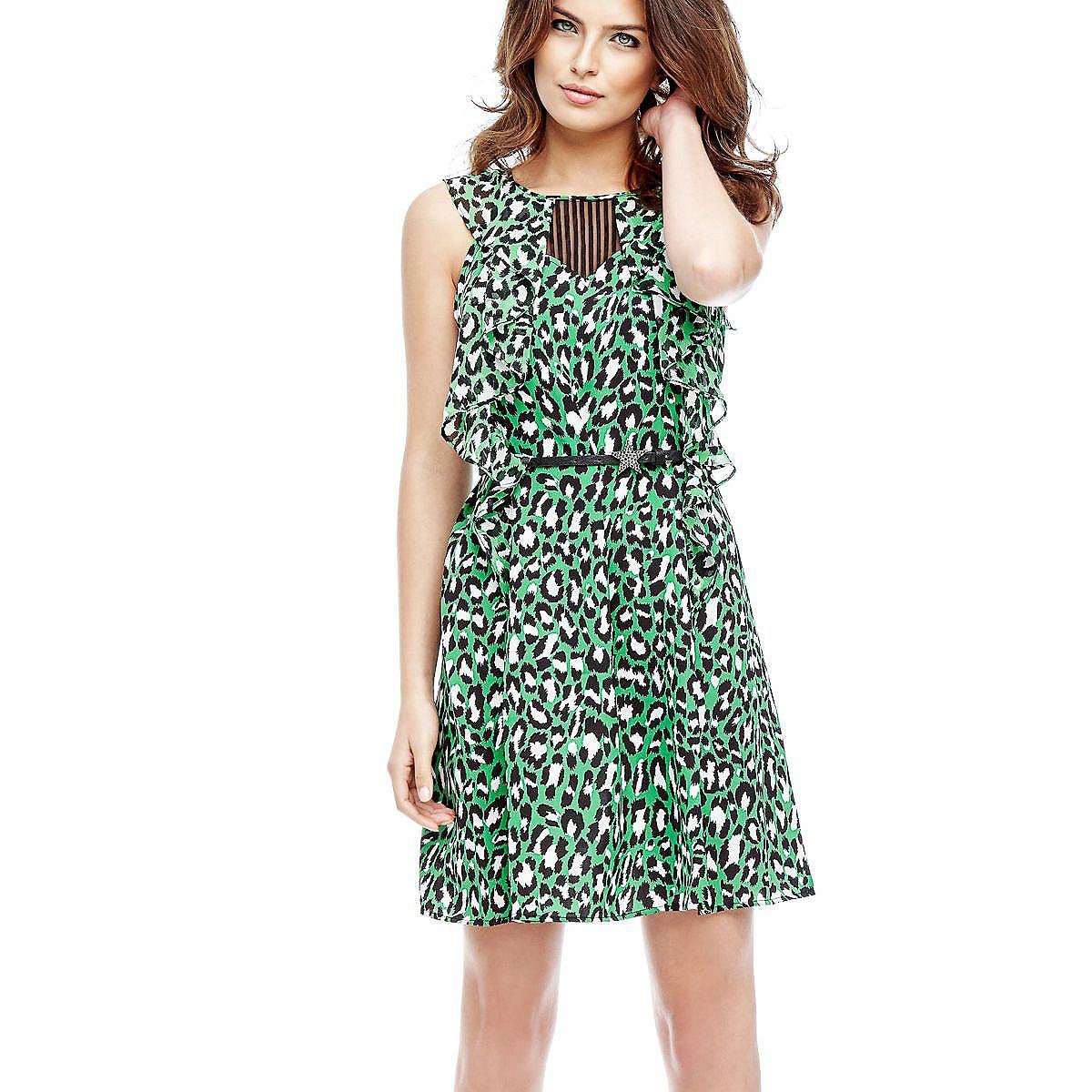 Guess jurk in animal-look en met volants groen