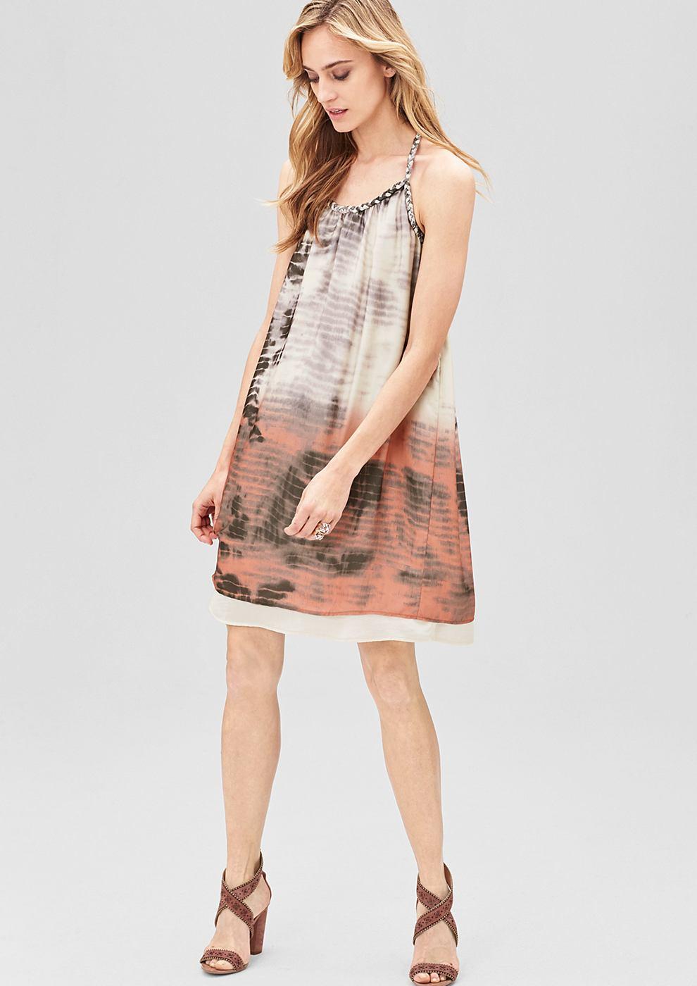 s.Oliver Premium satijnen jurk met een gebatikte look bruin