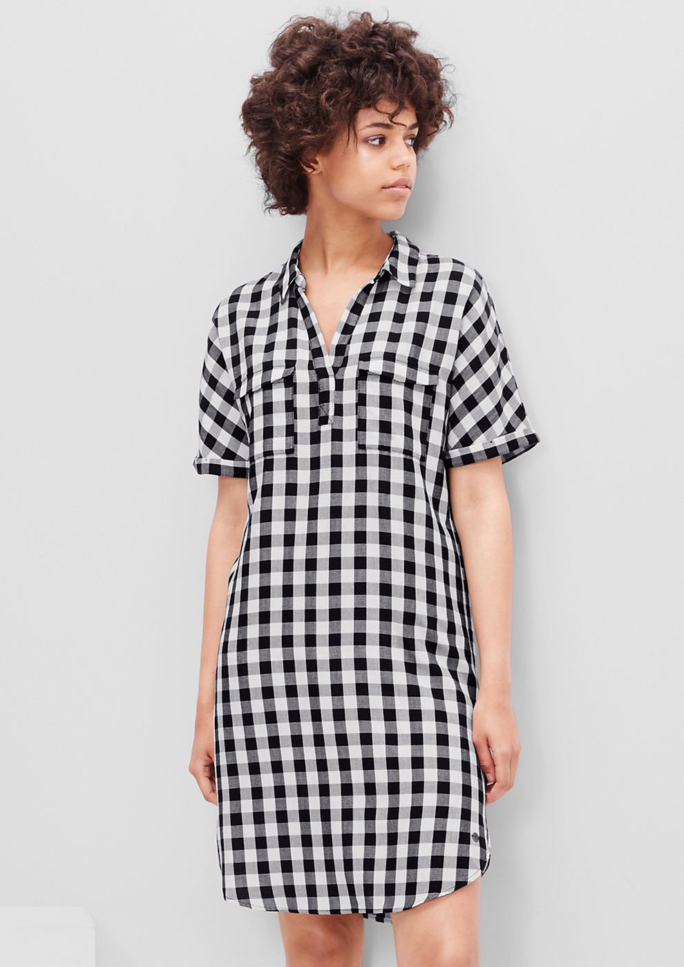 s.Oliver Shirt dress met ruiten zwart