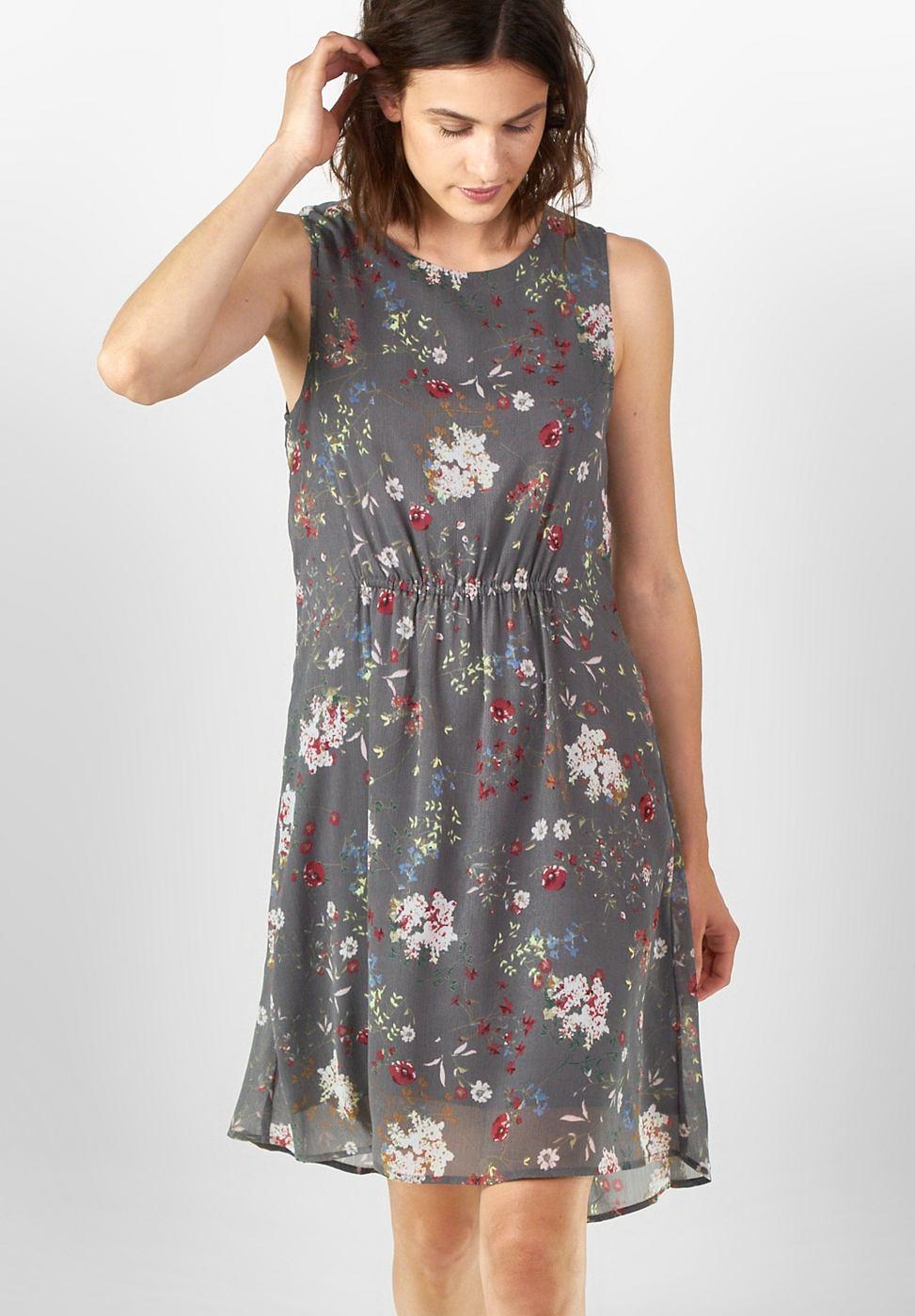 Street One jurk met bloemenprint Sandra grijs