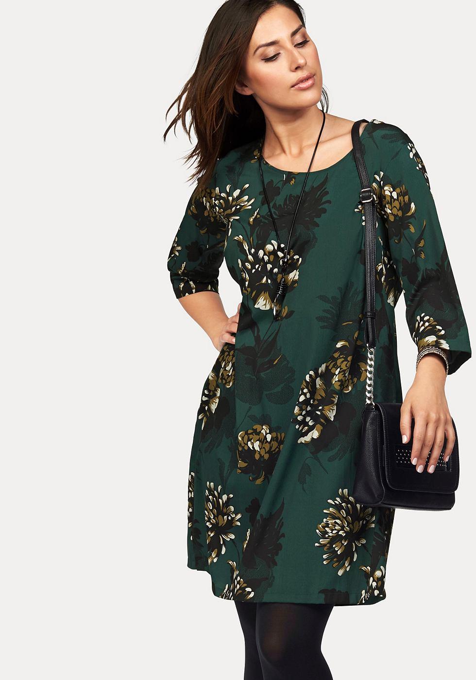 Junarose geweven jurk groen