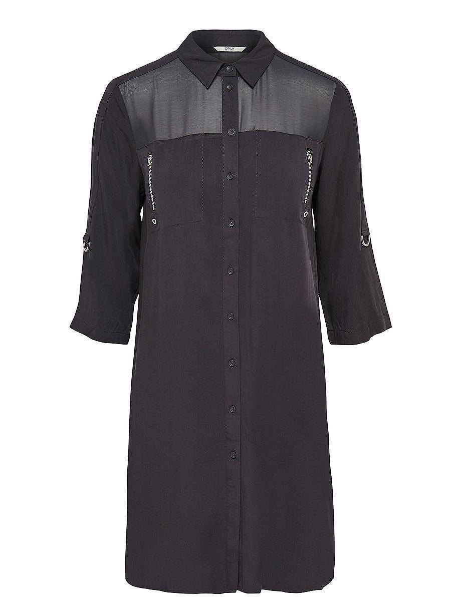 ONLY Gedetailleerd Overhemd met lange mouwen grijs