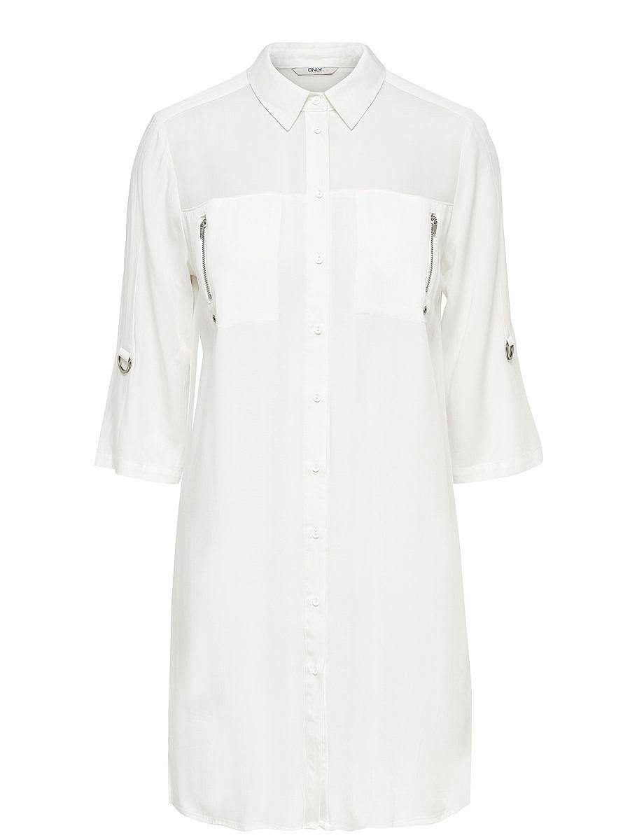 ONLY Gedetailleerd Overhemd met lange mouwen wit