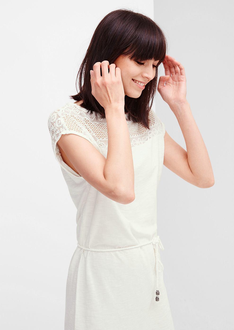 s.Oliver jersey jurk met kant wit