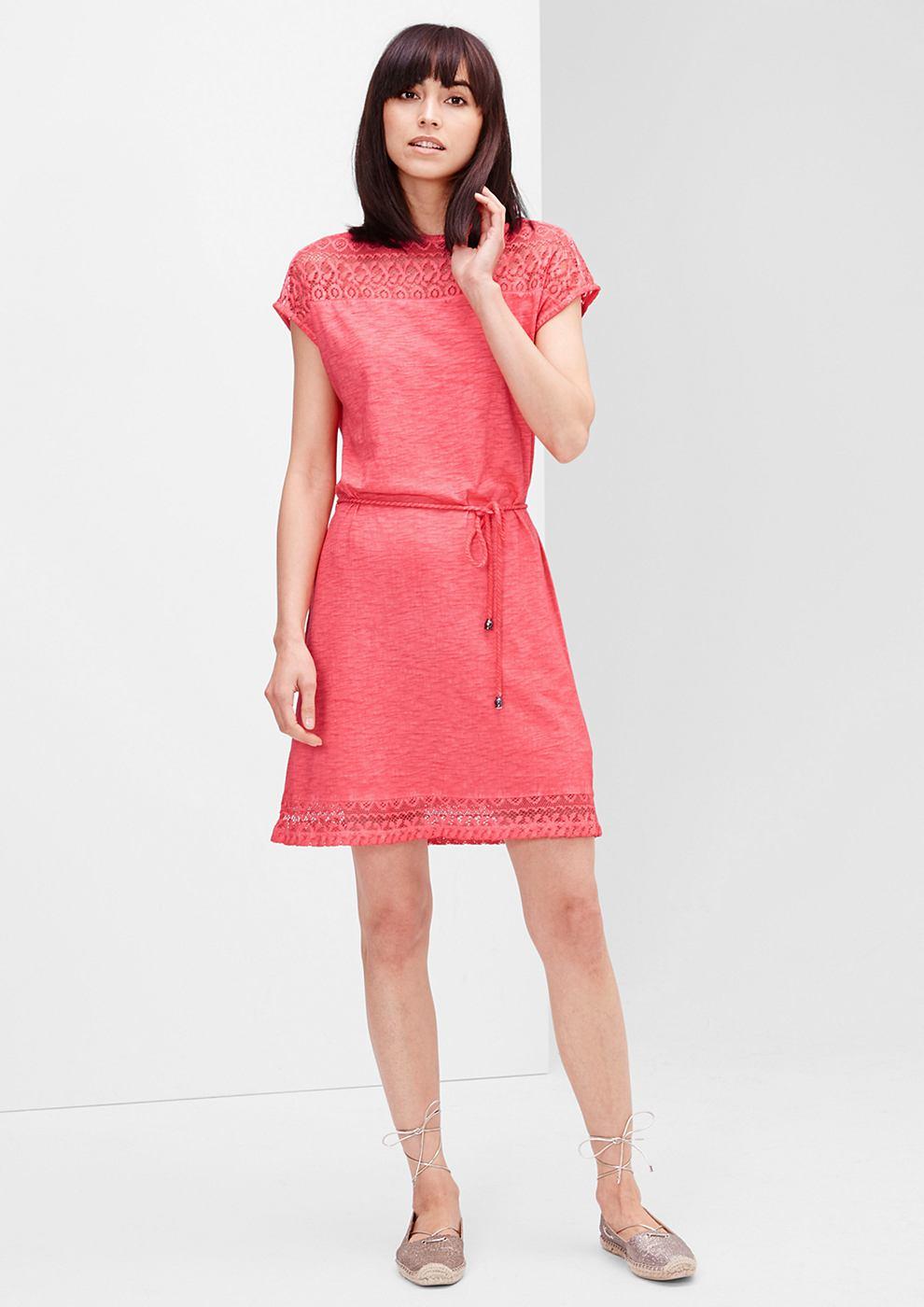 s.Oliver jersey jurk met kant rood