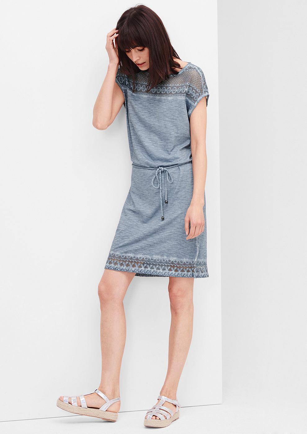 s.Oliver jersey jurk met kant blauw