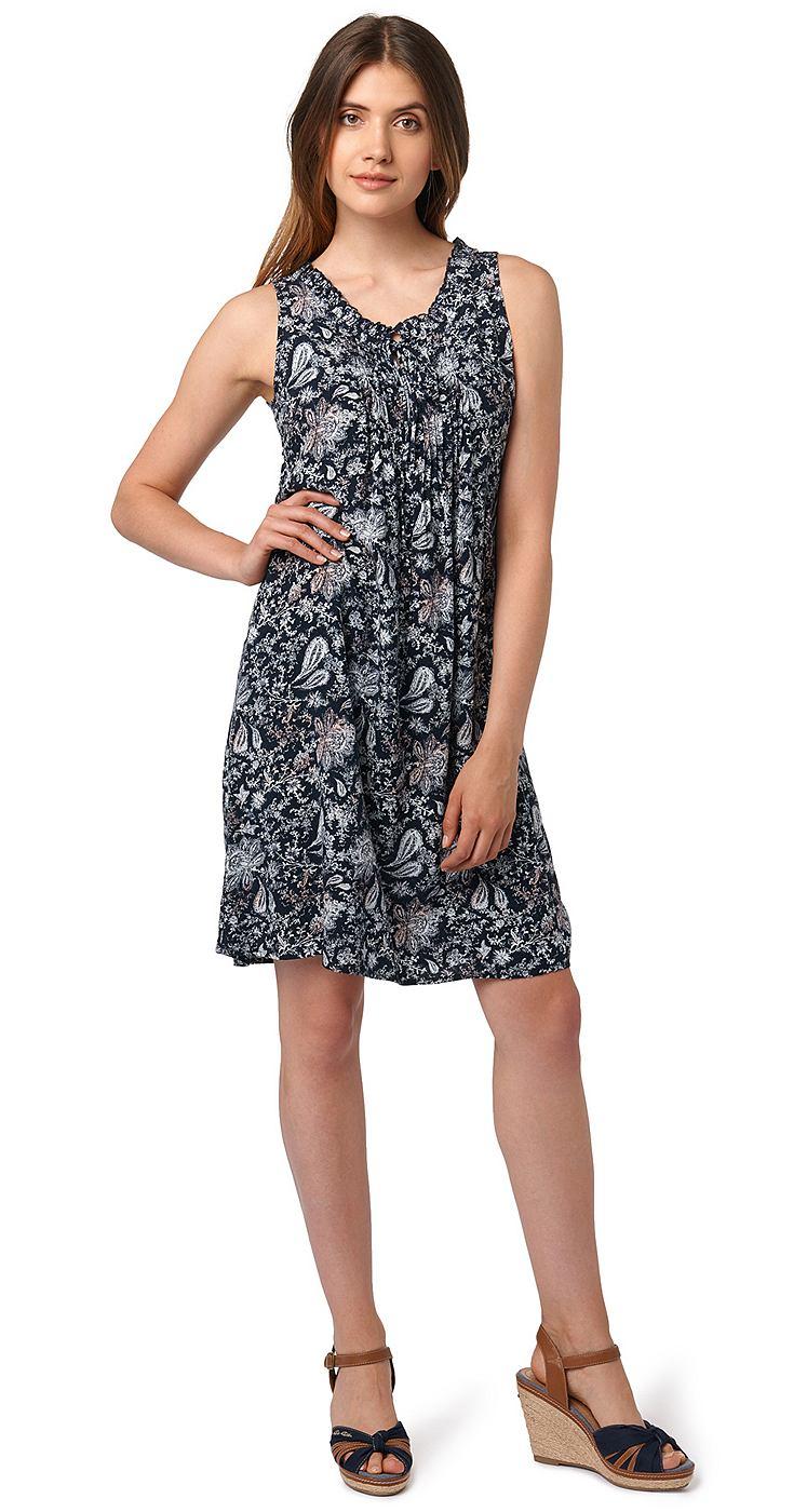 Tom Tailor jurk »Vrouwelijke zomerjurk met ruches« blauw