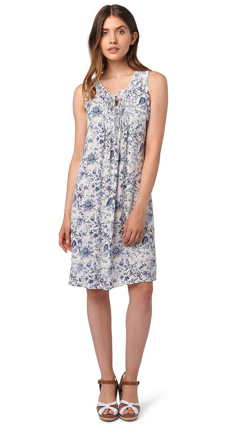 Tom Tailor jurk »Vrouwelijke zomerjurk met ruches« wit