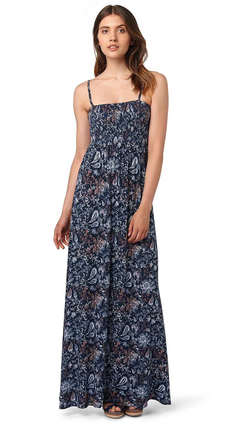 Tom Tailor jurk »Bandeaujurk in maxilengte« blauw
