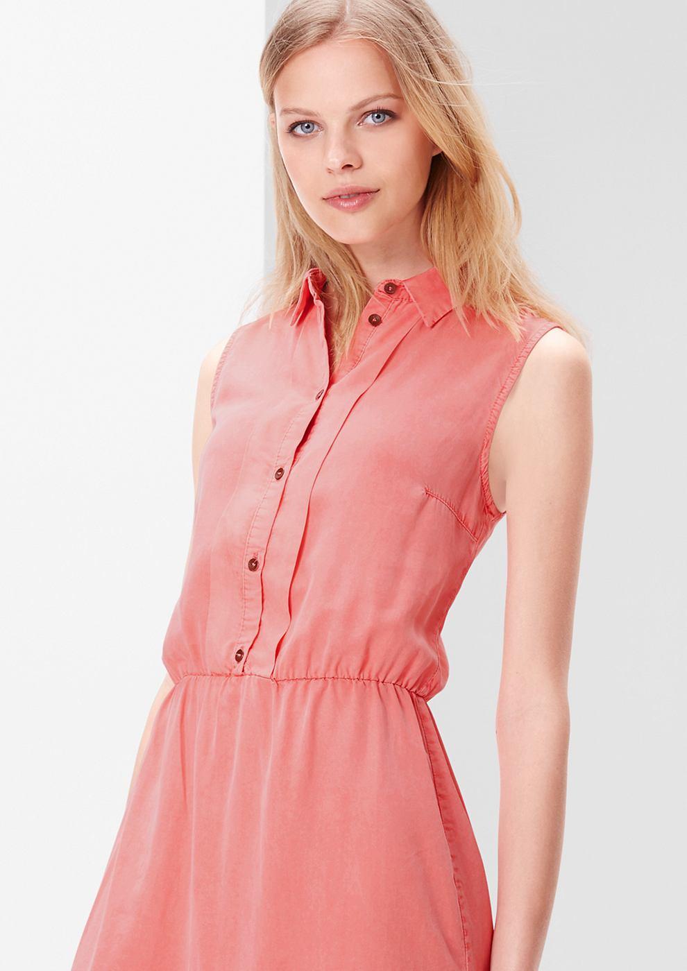 s.Oliver Fluweelzachte jurk met een garment-washed effect rood