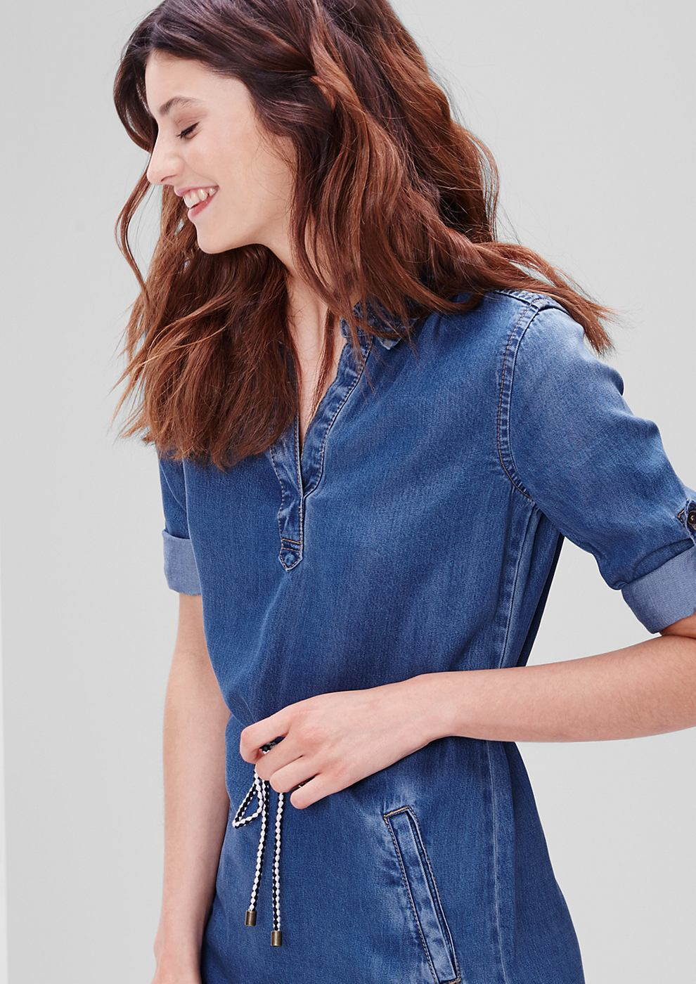 s.Oliver Shirt dress in een denim look blauw