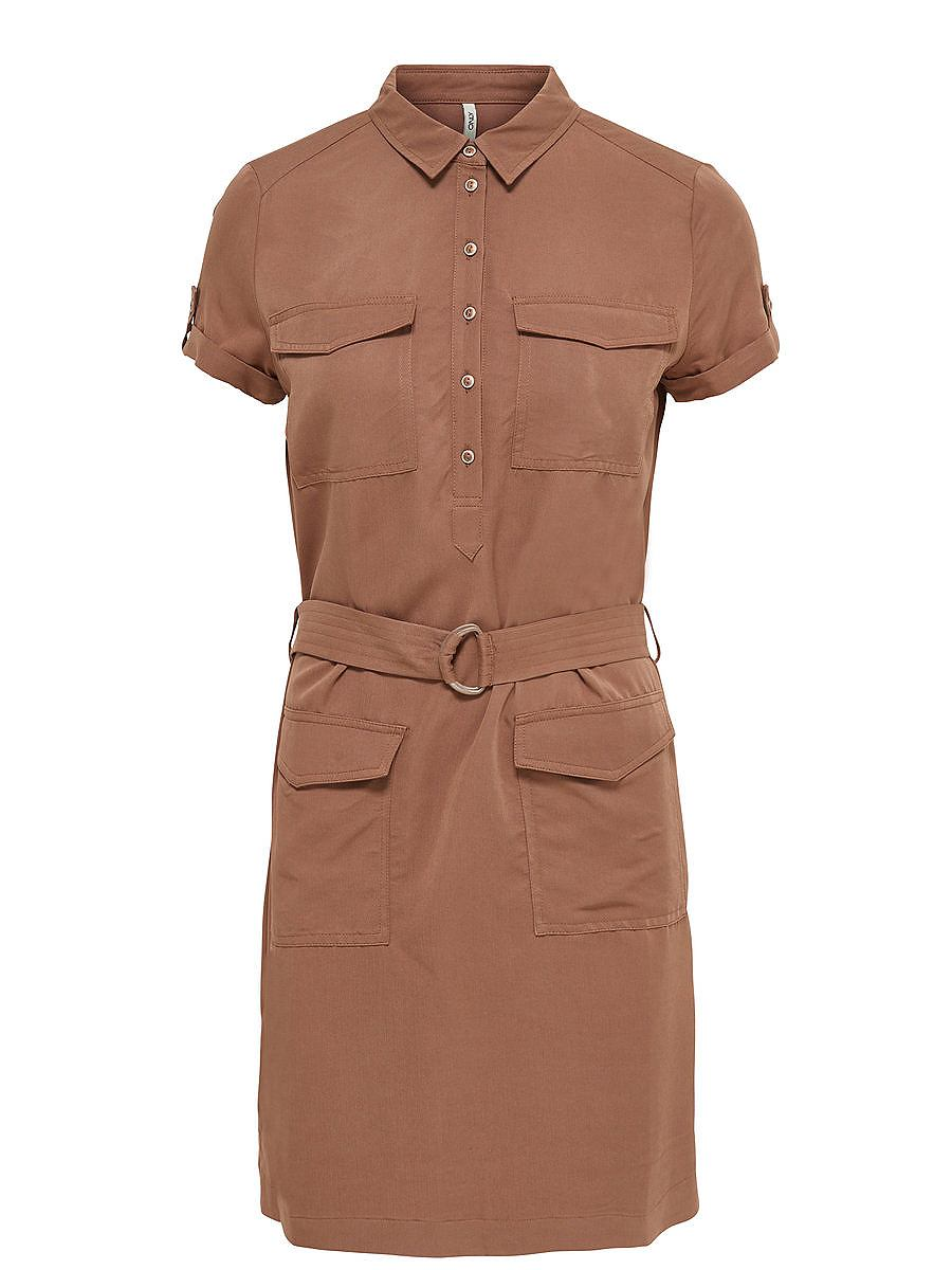 ONLY Cargo jurk met korte mouwen bruin