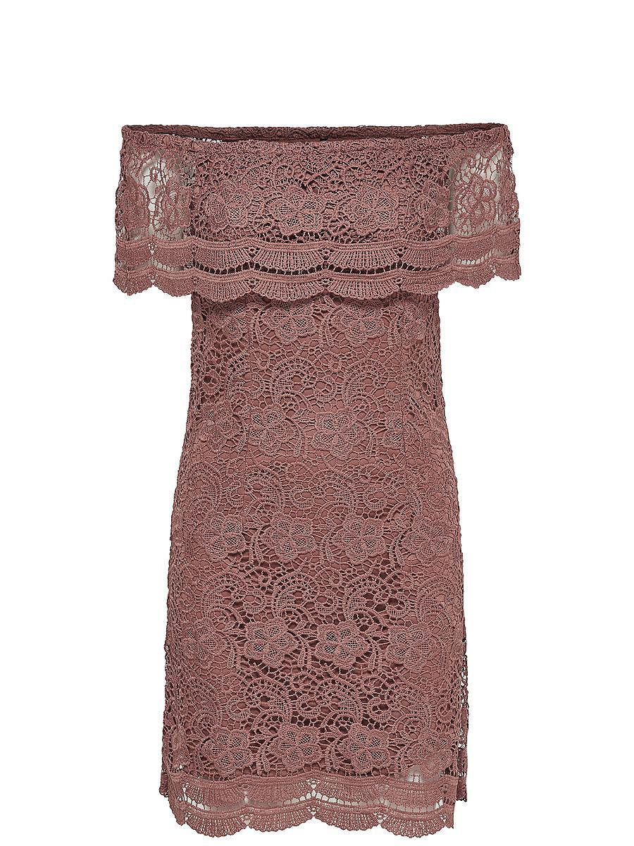 ONLY Off-shoulder Korte jurk bruin