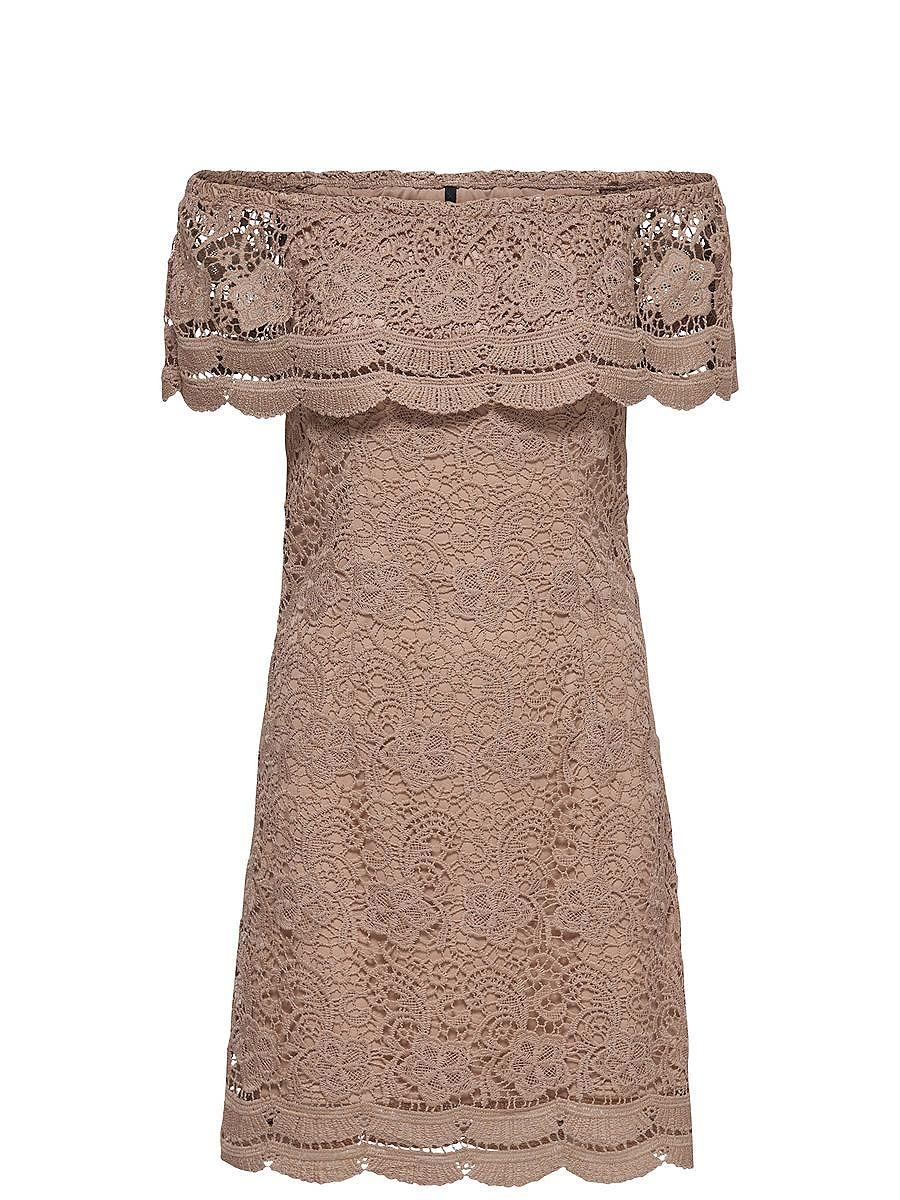 ONLY Off-shoulder Korte jurk beige