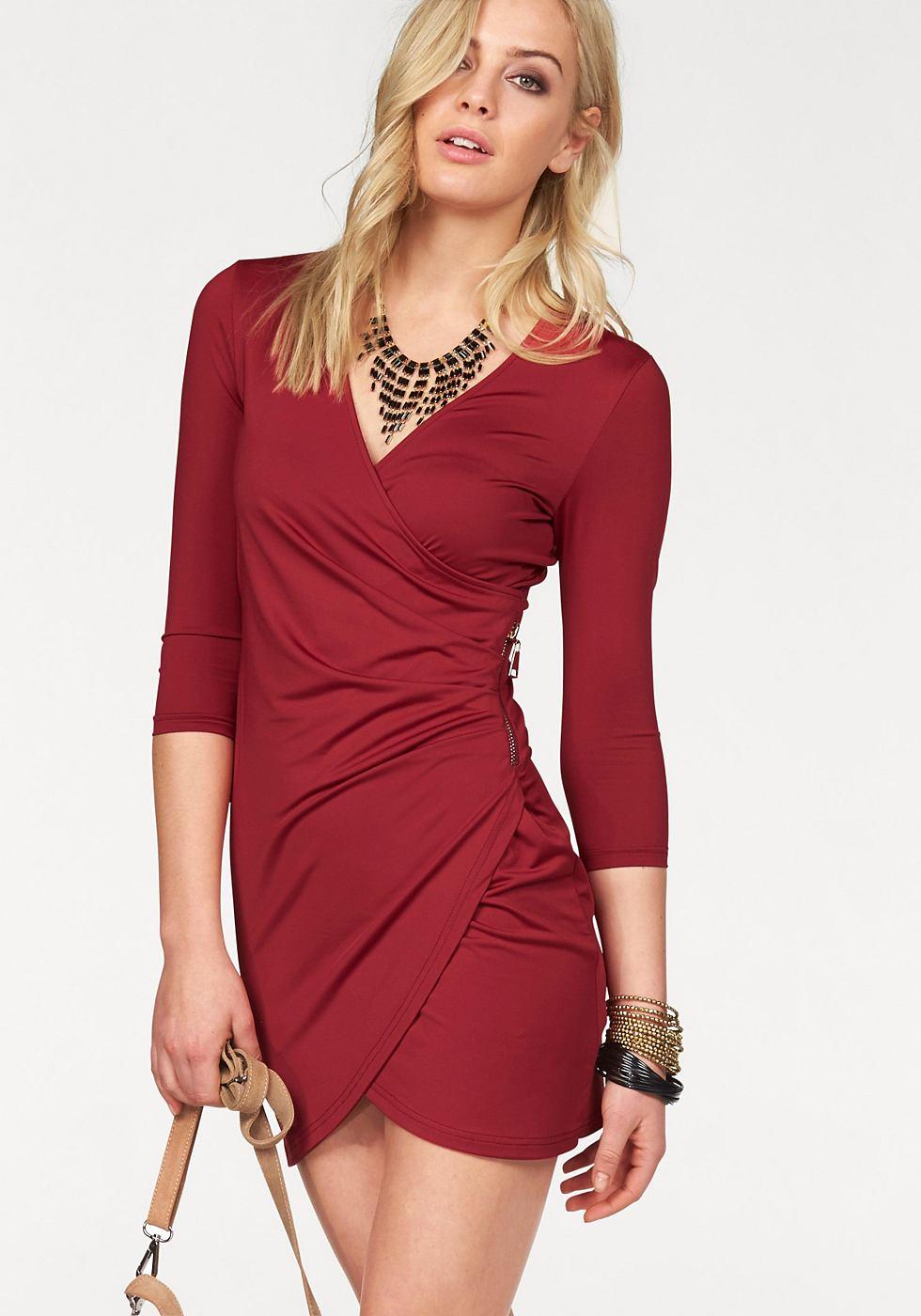 Melrose jersey-jurk in wikkel-look rood