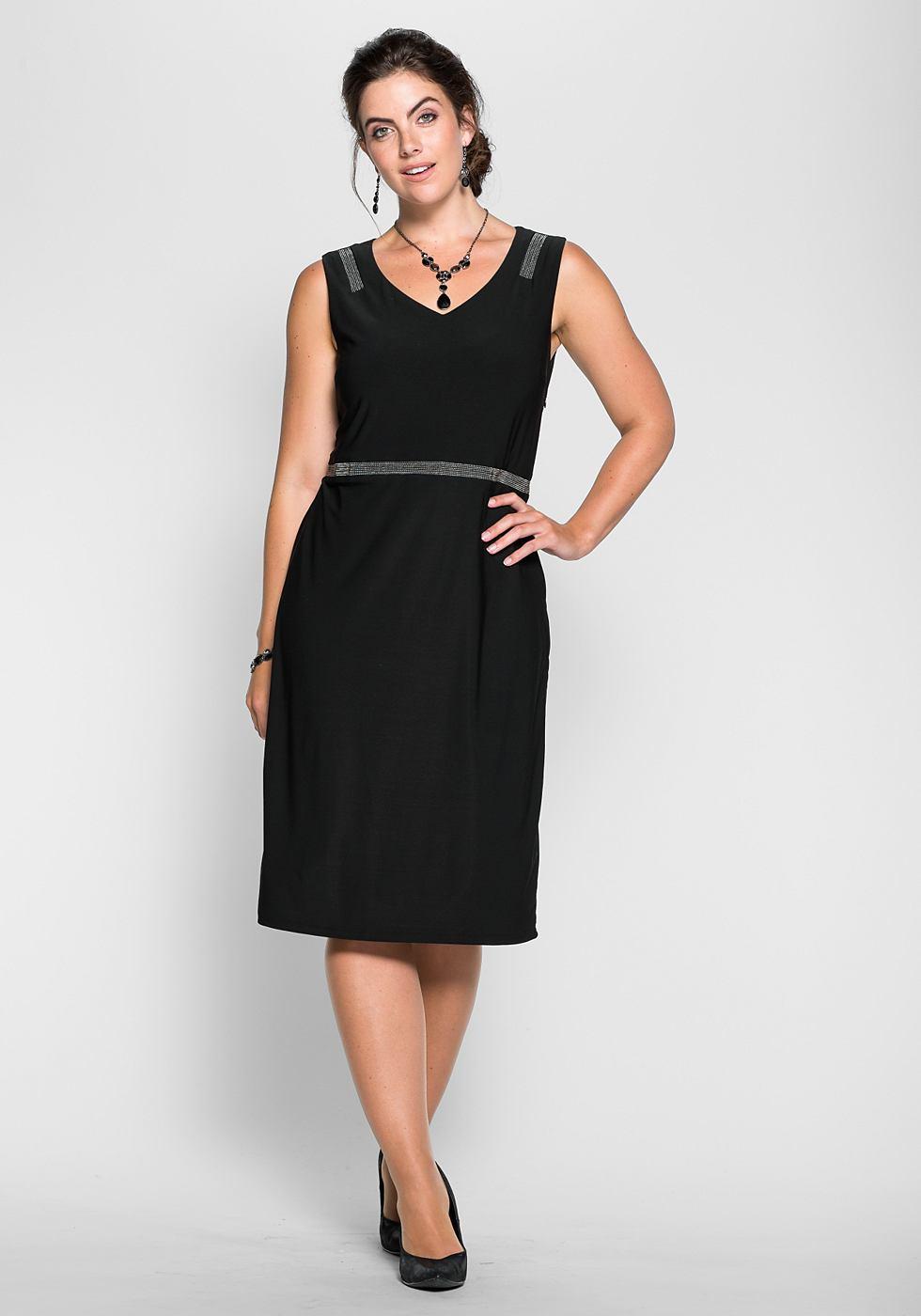 Sheego Style jerseyjurk met glanzende sierkraaltjes zwart