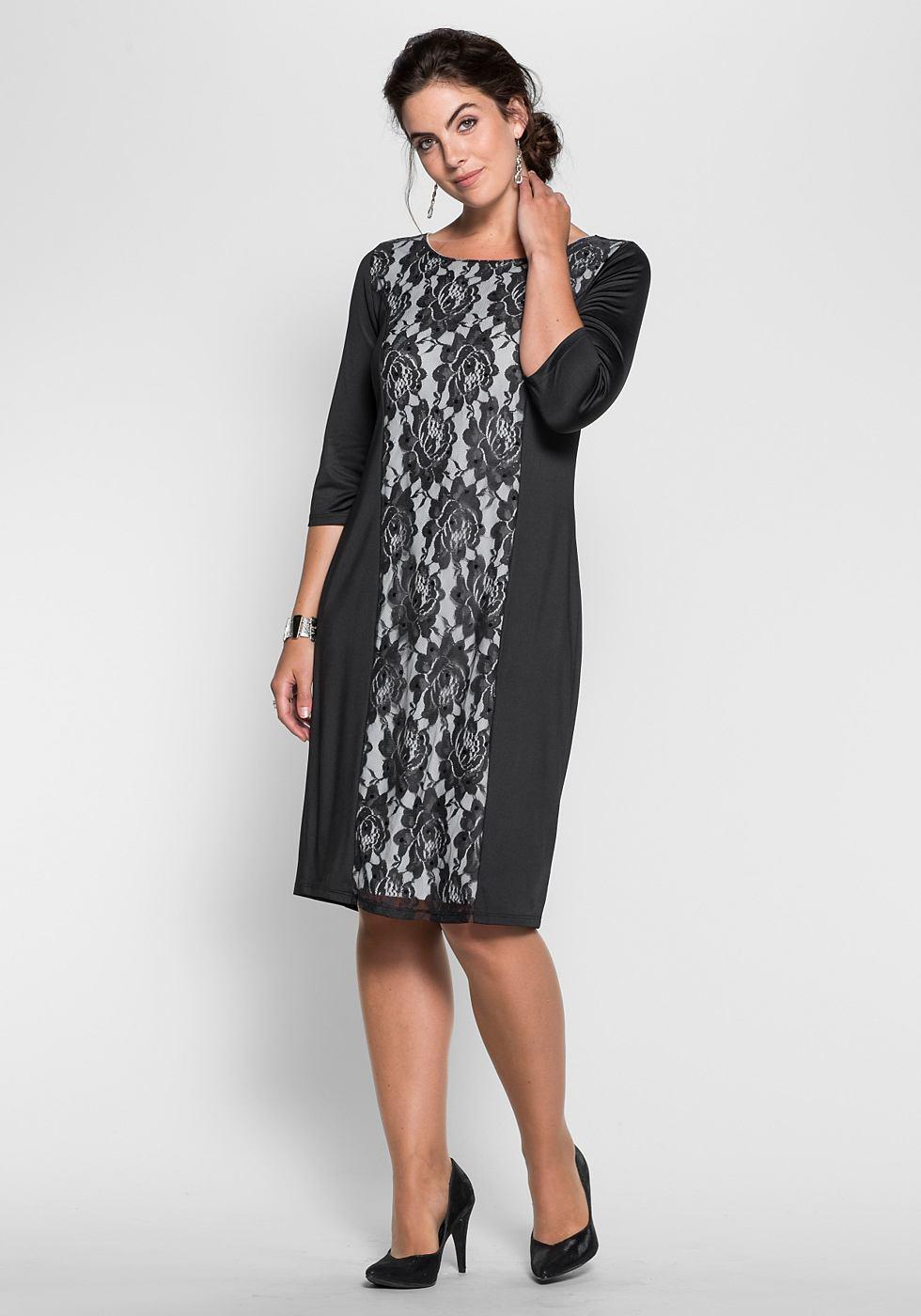 Sheego Style jerseyjurk met kanten inzet zwart