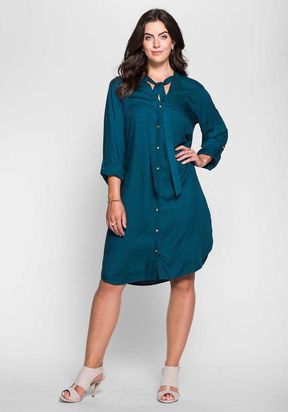 Sheego Style jurk met overhemdkraag blauw