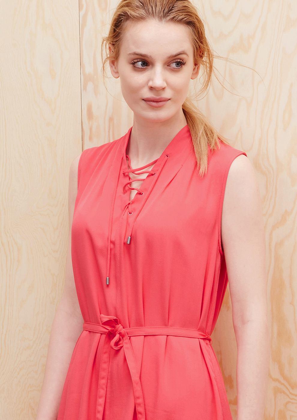 s.Oliver Viscose jurk met veterkoord rood