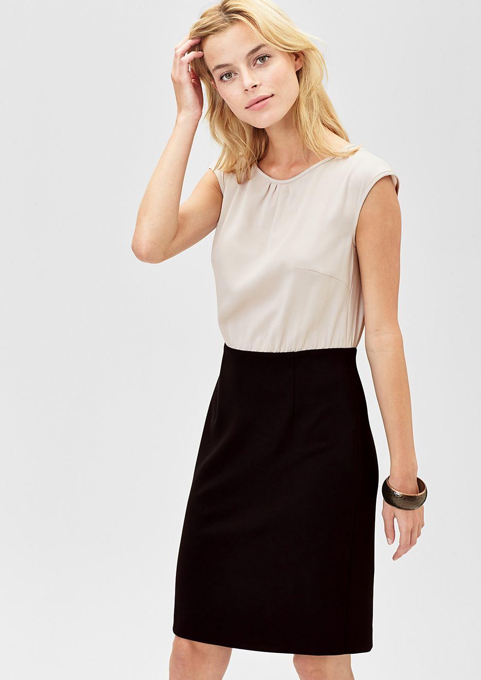 s.Oliver Premium Accentuerende jurk van een materiaalmix bruin