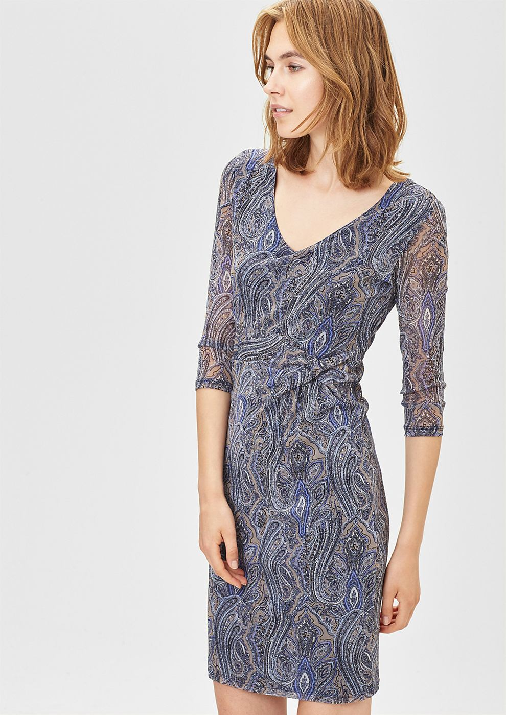 s.Oliver Premium Lichte mesh-jurk met drapering bruin
