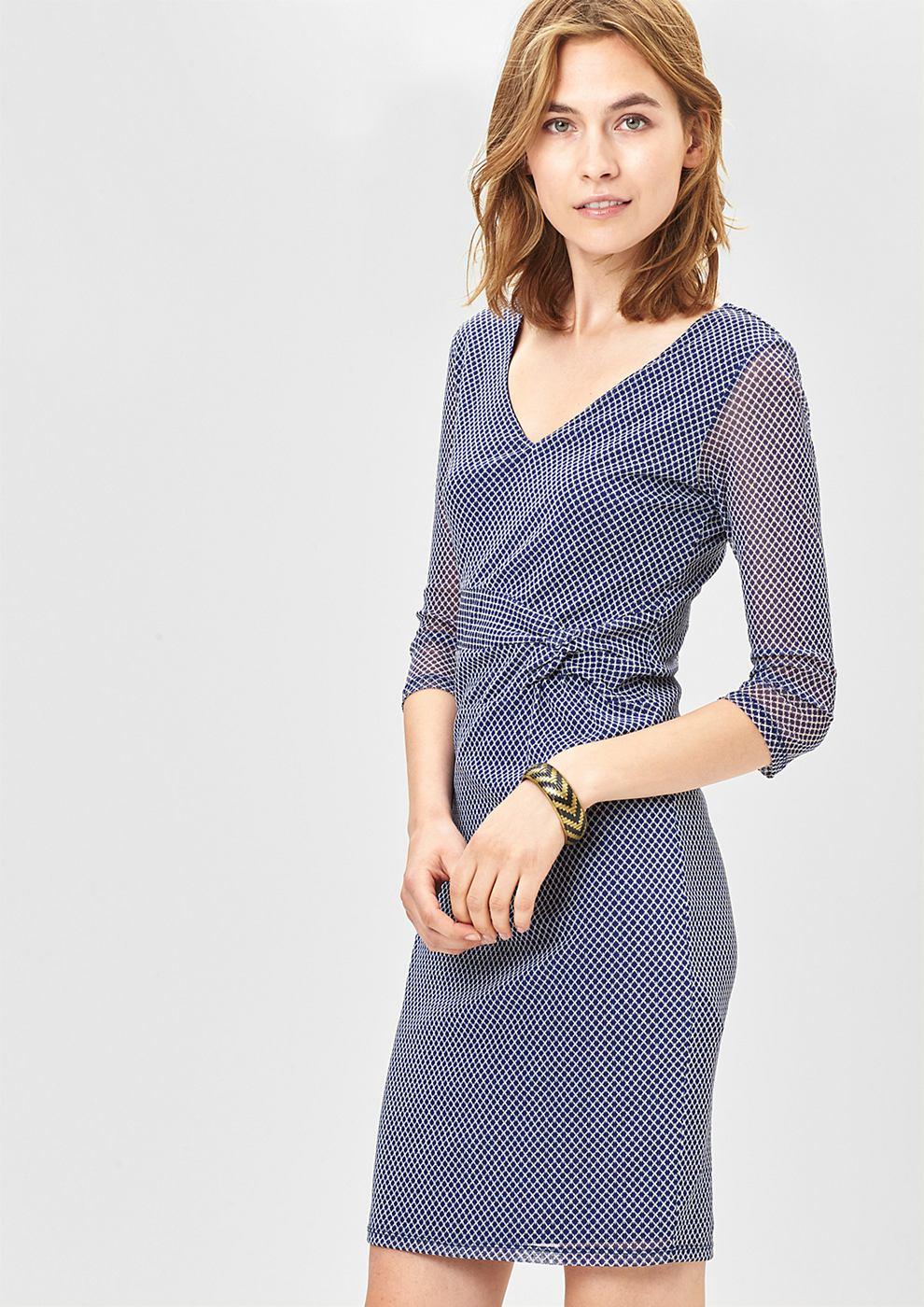 s.Oliver Premium Lichte mesh-jurk met drapering blauw