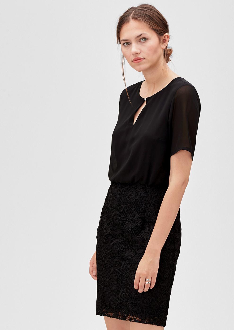 s.Oliver Premium 2-in-1 jurk van chiffon en kant zwart