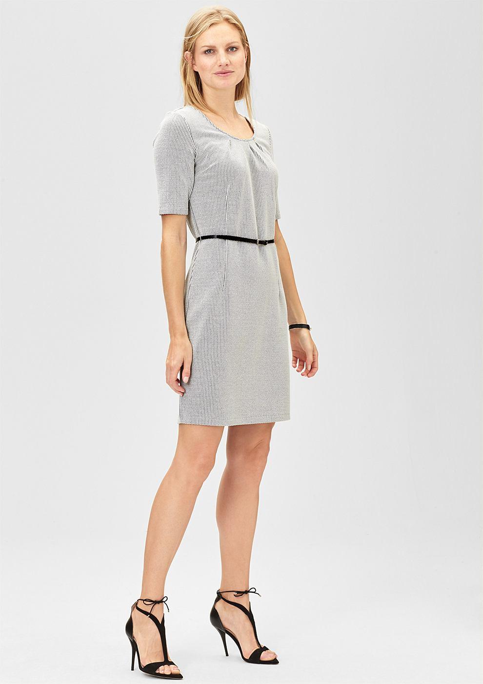 s.Oliver Premium Casual jacquard jurk met riem wit