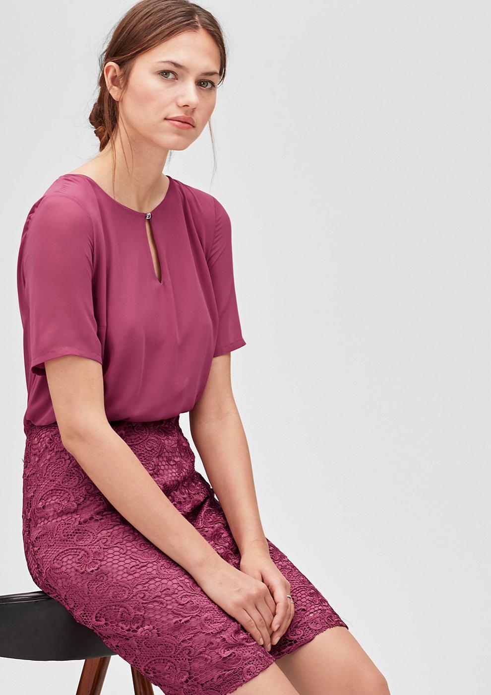 s.Oliver Premium 2-in-1 jurk van chiffon en kant roze