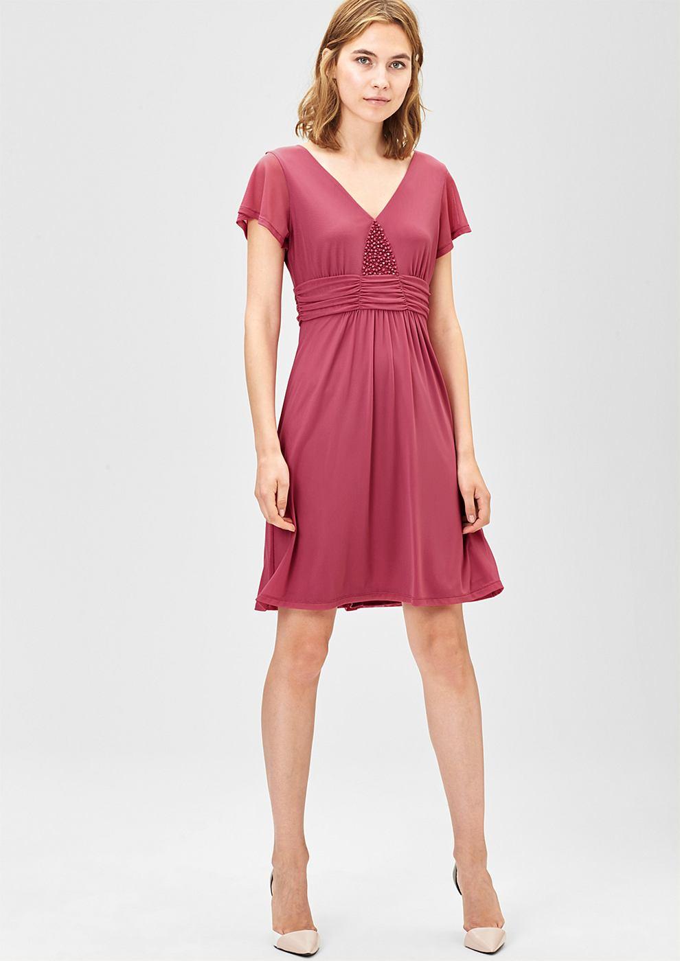 s.Oliver Premium Mesh jurk met siersteentjes roze
