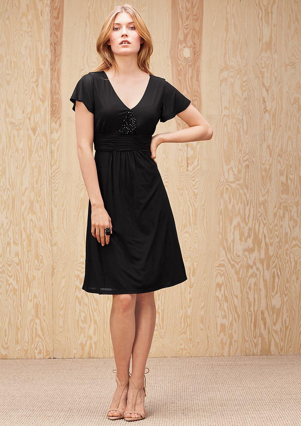 s.Oliver Premium Mesh jurk met siersteentjes zwart