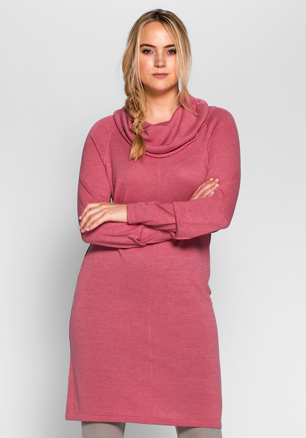 Sheego Casual tricotjurk met col roze
