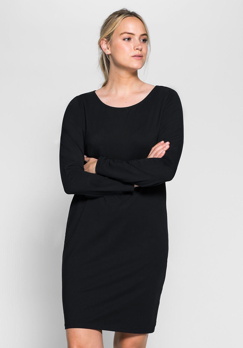 Sheego Casual basic jurk zwart