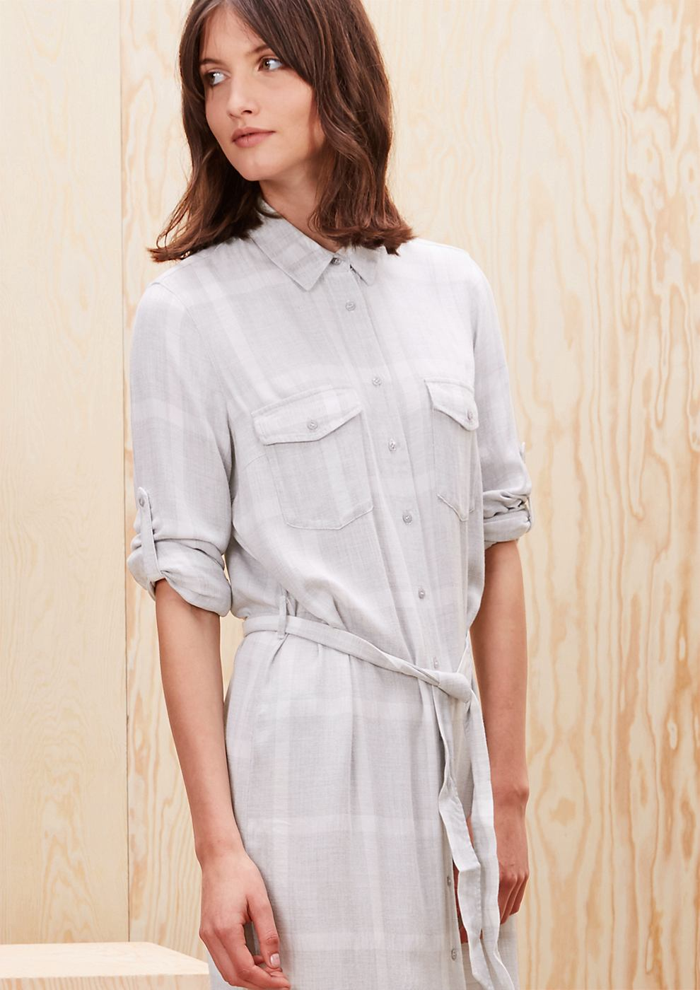 s.Oliver Geruite shirt dress grijs