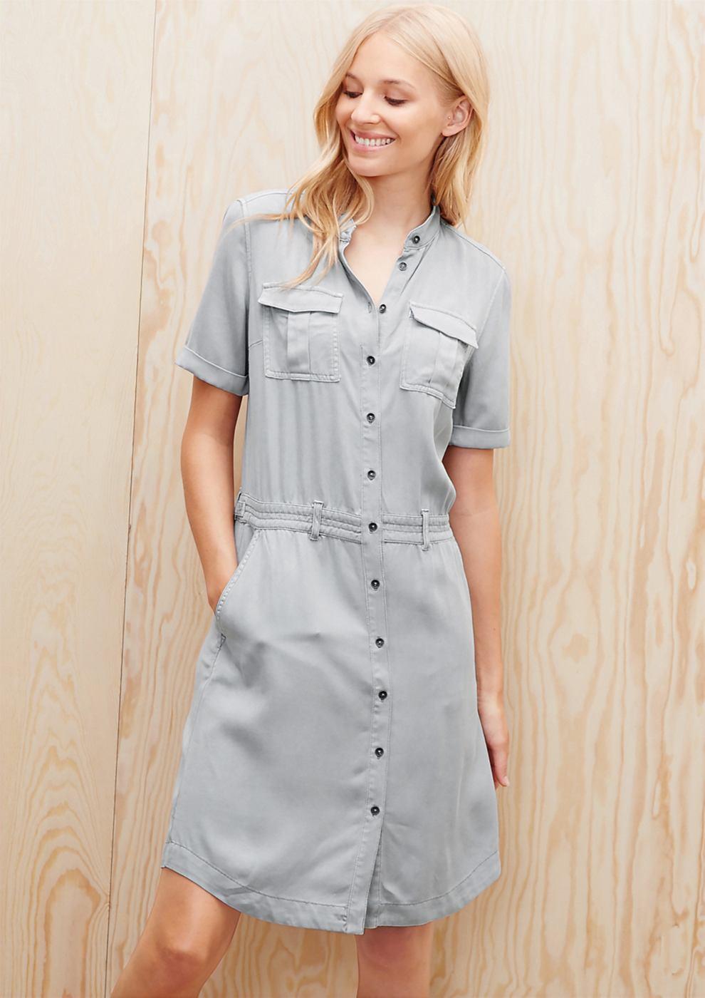 s.Oliver Fluweelzachte jurk van twill grijs