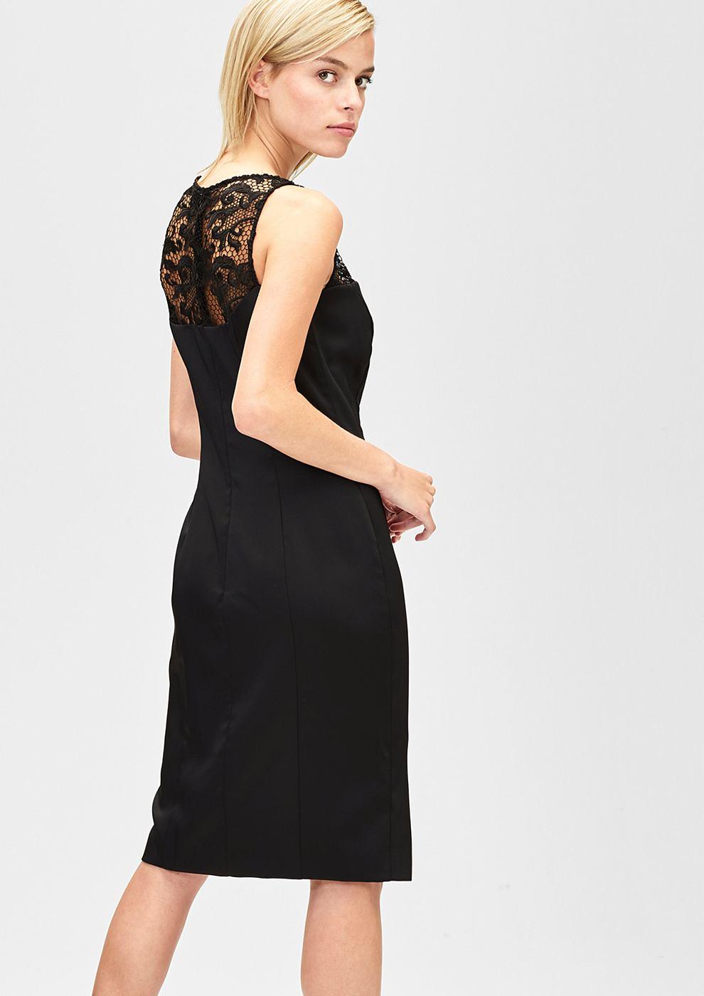 s.Oliver Premium satijnen jurk met kant zwart