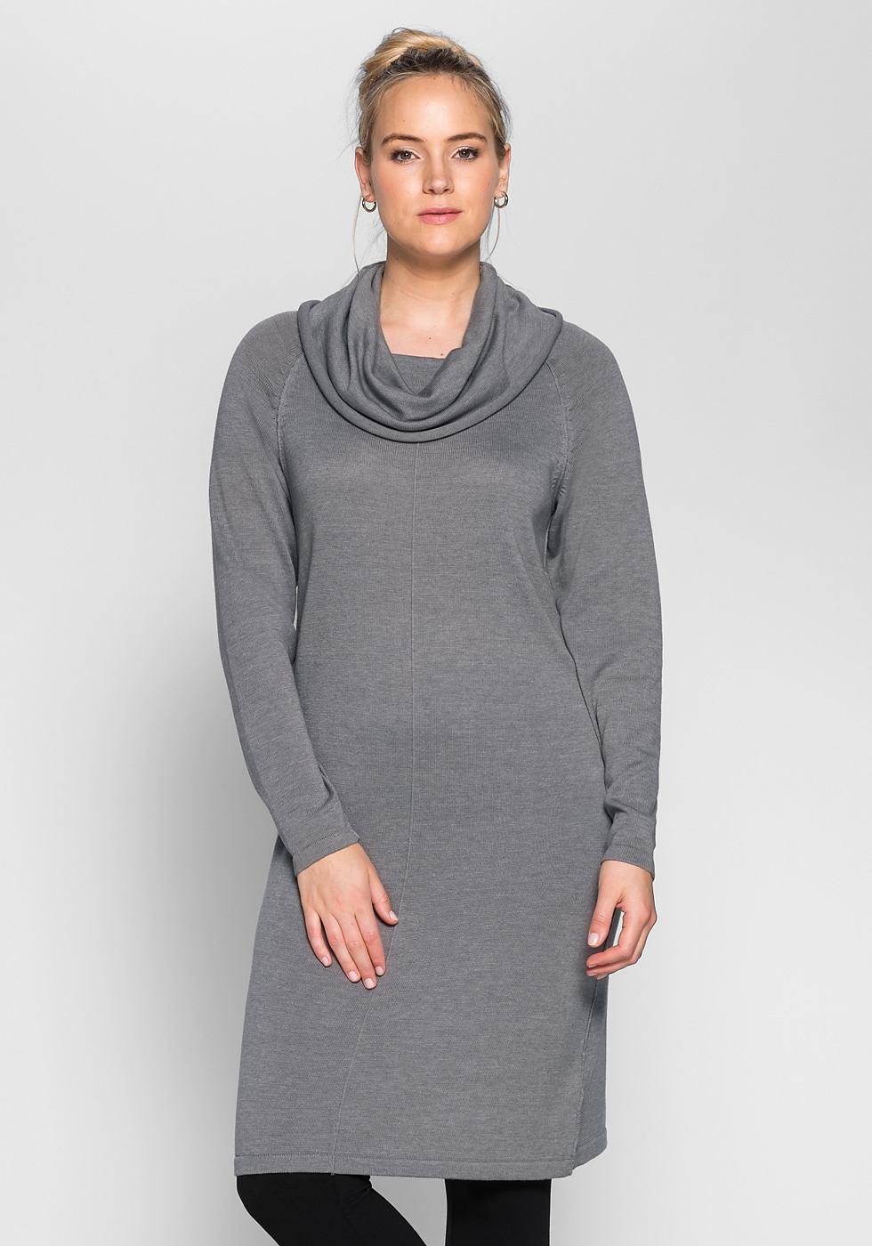 Sheego Casual tricotjurk met col grijs