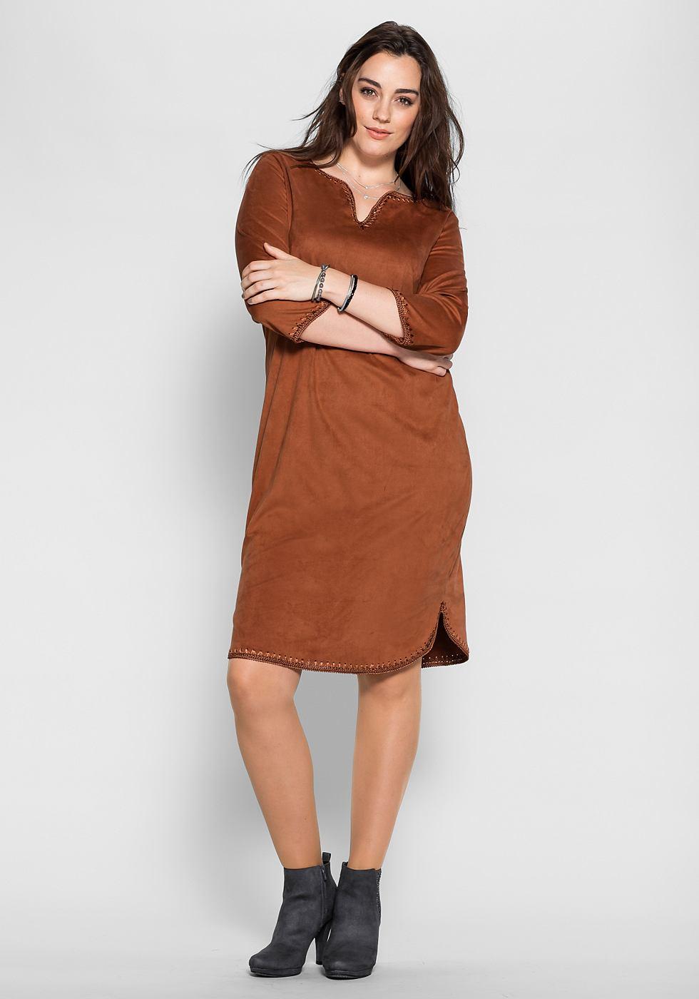 Sheego Style jerseyjurk met gehaakte randen bruin
