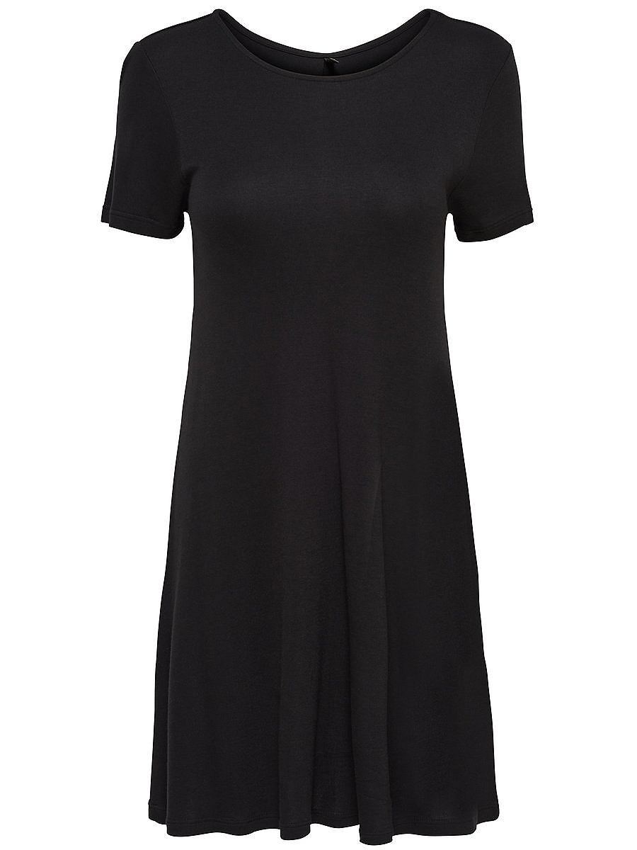 ONLY Ruimvallende jurk met korte mouwen zwart