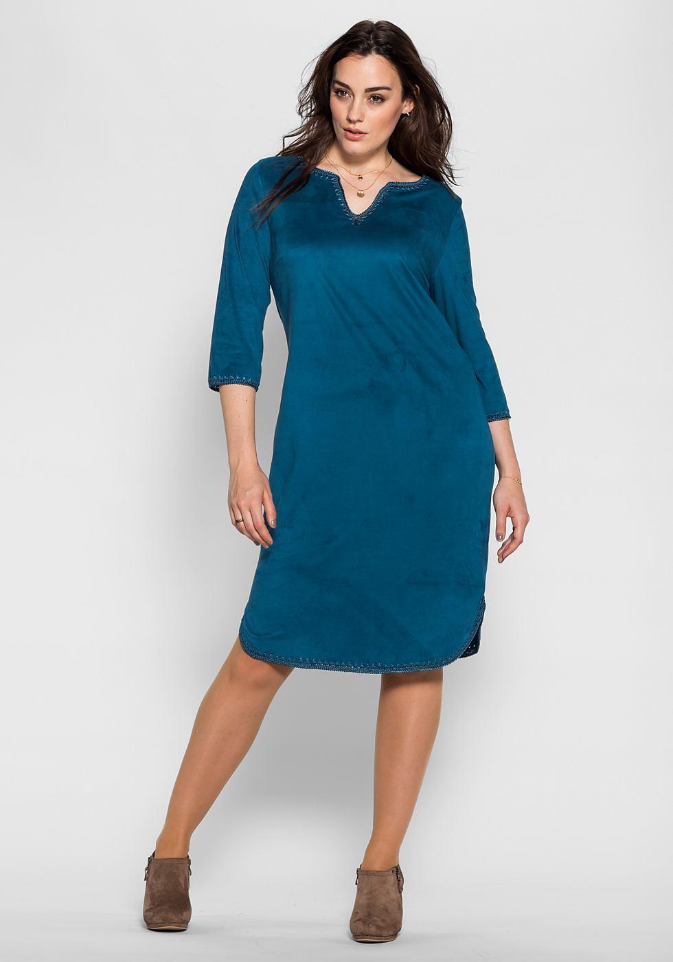 Sheego Style jerseyjurk met gehaakte randen blauw