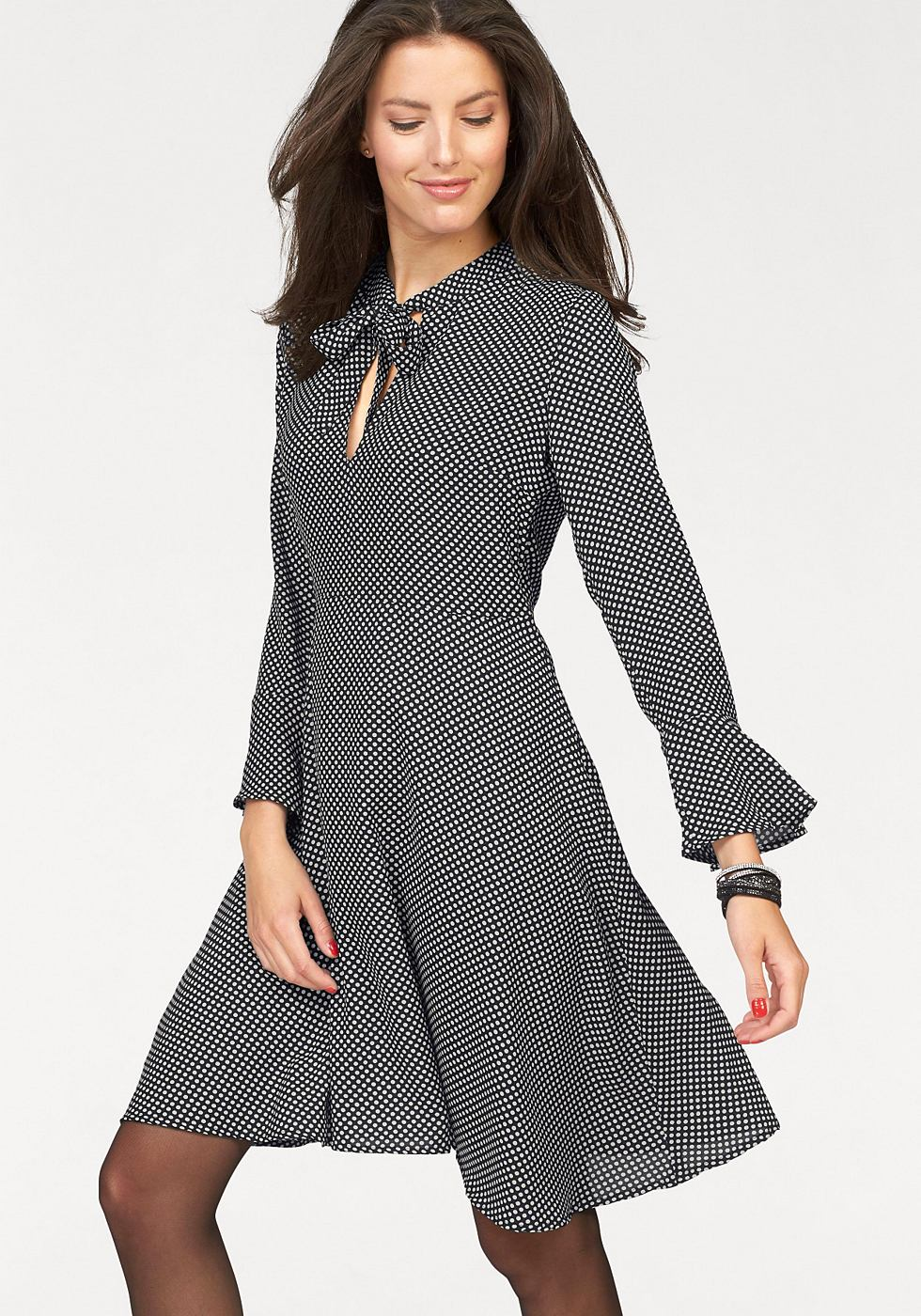 Vivance Collection gedessineerde jurk zwart