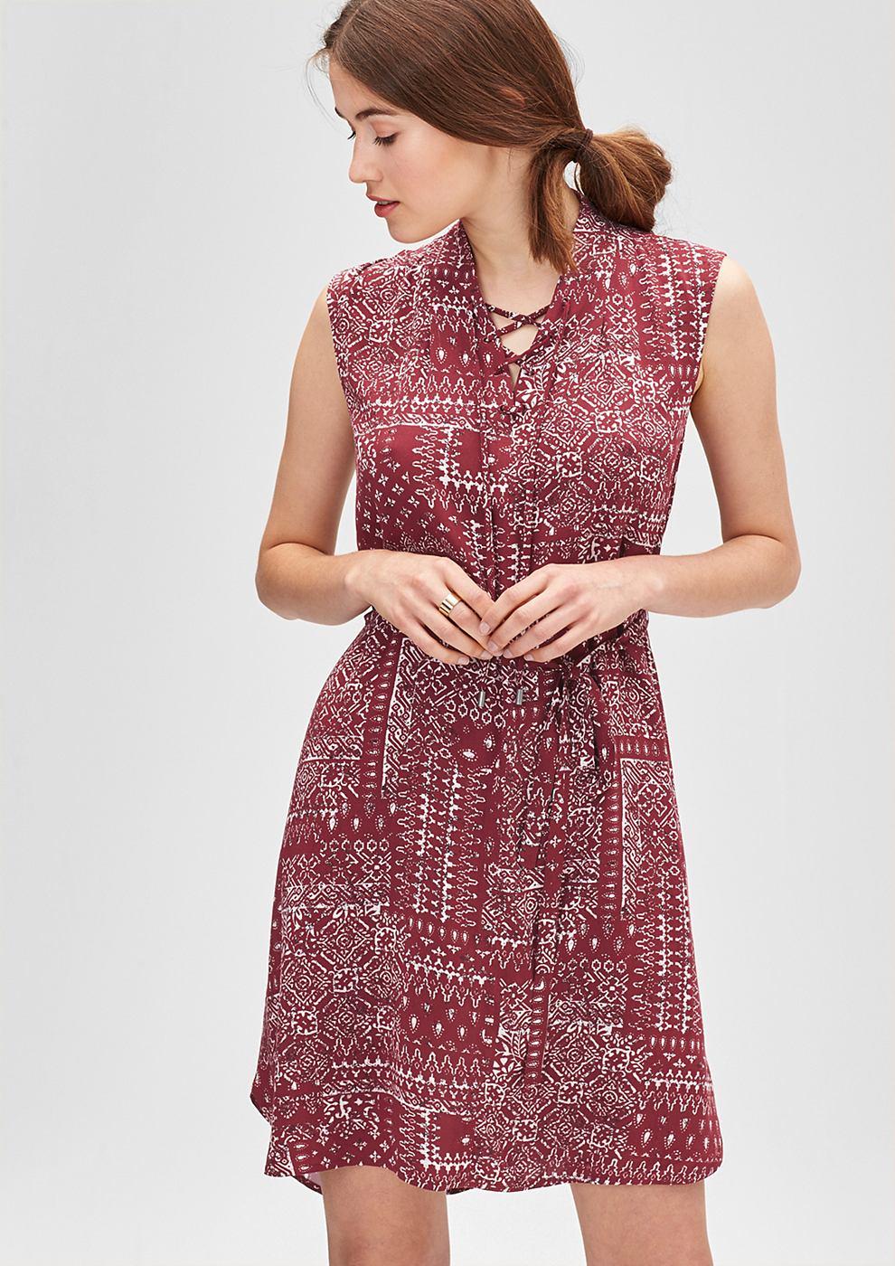 s.Oliver Etnische jurk met vetersluiting roze